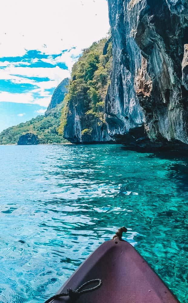 Kayaking under the cliffs of El Nido