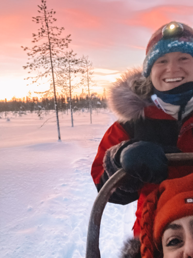 Driving my husky sled in Finland