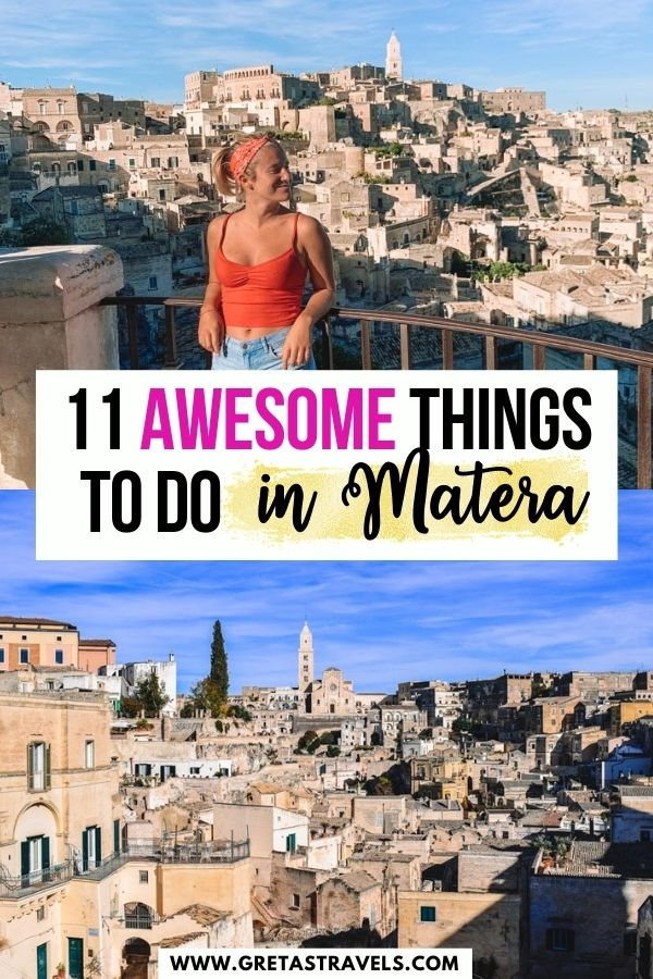 """Photo collage of two viewpoints over the Sassi di Matera with text overlay saying """"11 awesome things to do in Matera"""""""