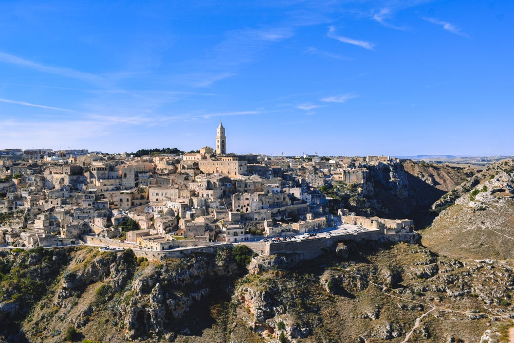 The view over Matera from the viewpoint of the Parco Regionale della Murgia Materana