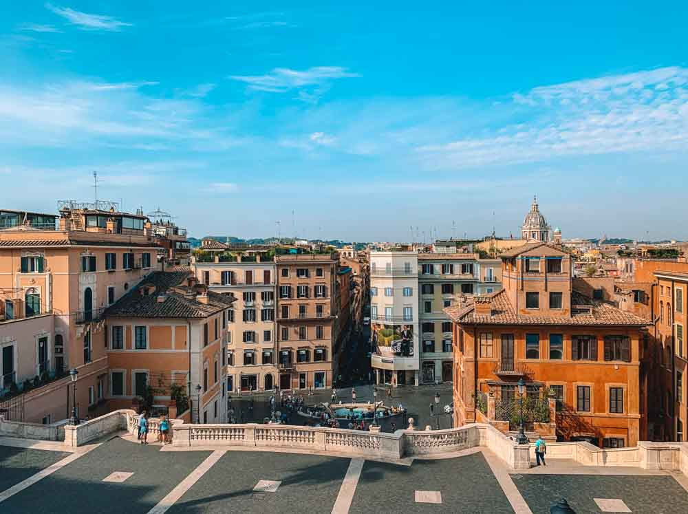 The view over Rome from the viewing deck at the top of the Spanish Steps, just under Trinità dei Monti