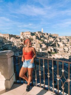 Enjoying the view over the Sassi of Matera in Italy