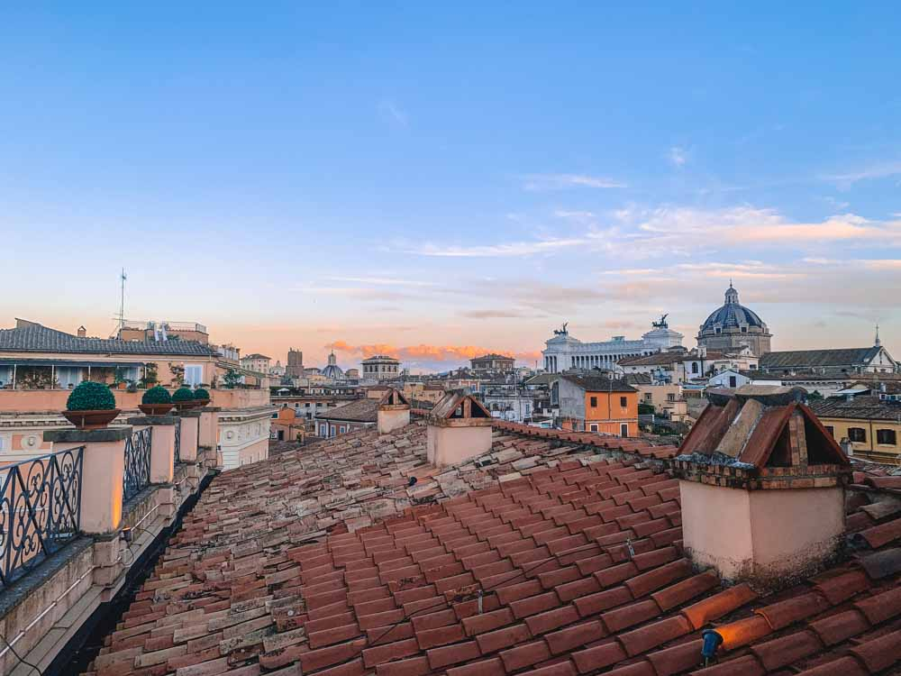 View over Rome and the Altar of the Fatherland from the rooftop bar of Hotel Minerva