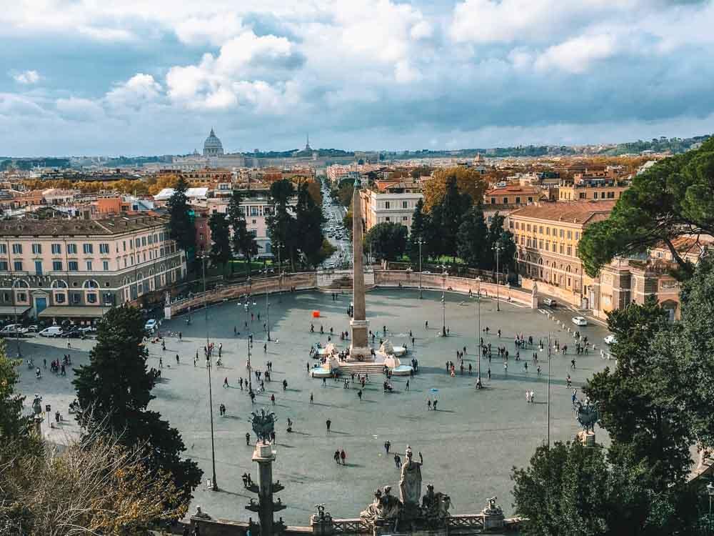 View over Piazza del Popolo and Rome from Terrazza del Pincio