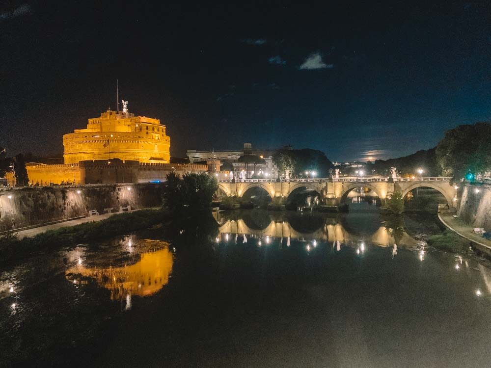 View over Castel Sant'Angelo and the Tiber River at night