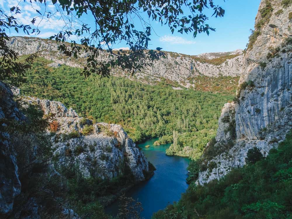 Views over the Cetina River and Canyon in Omis, Croatia