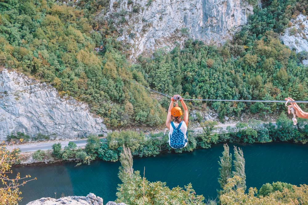 The final wire of our Omis zipline experience