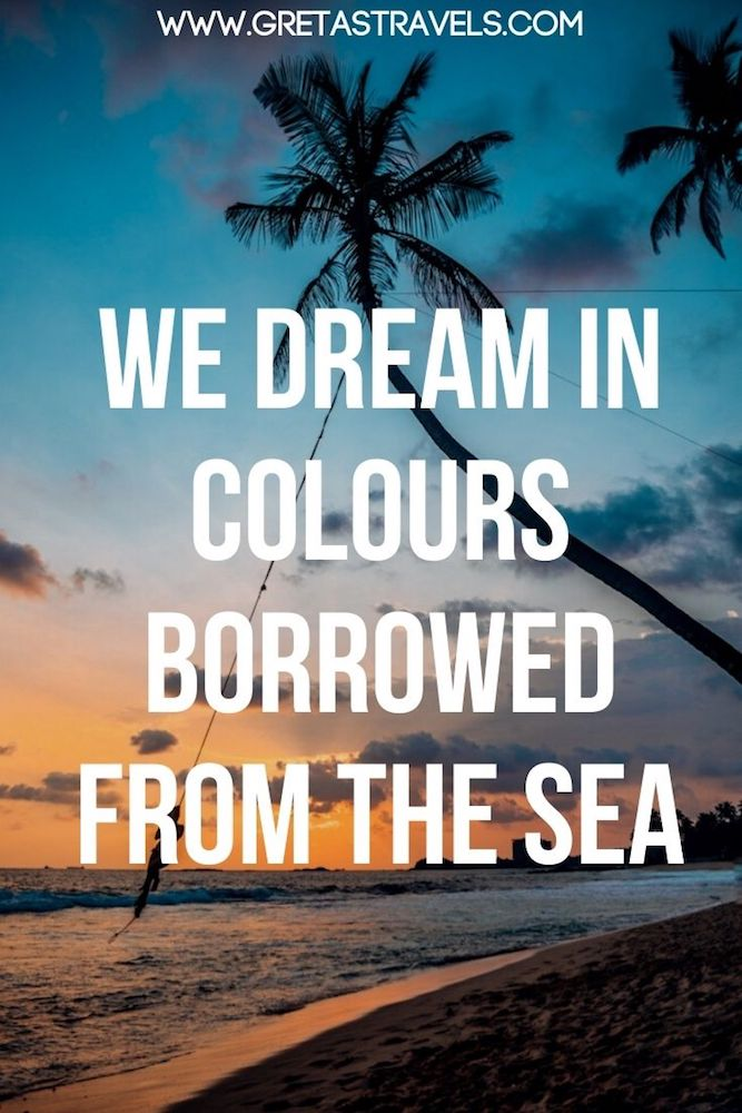"""Photo of the sunset at Dalawella Beach, with the iconic palm trees and swings with text overlay saying """"We dream in colours borrowed from the sea"""" - a beautiful quote about the beach and the sea"""