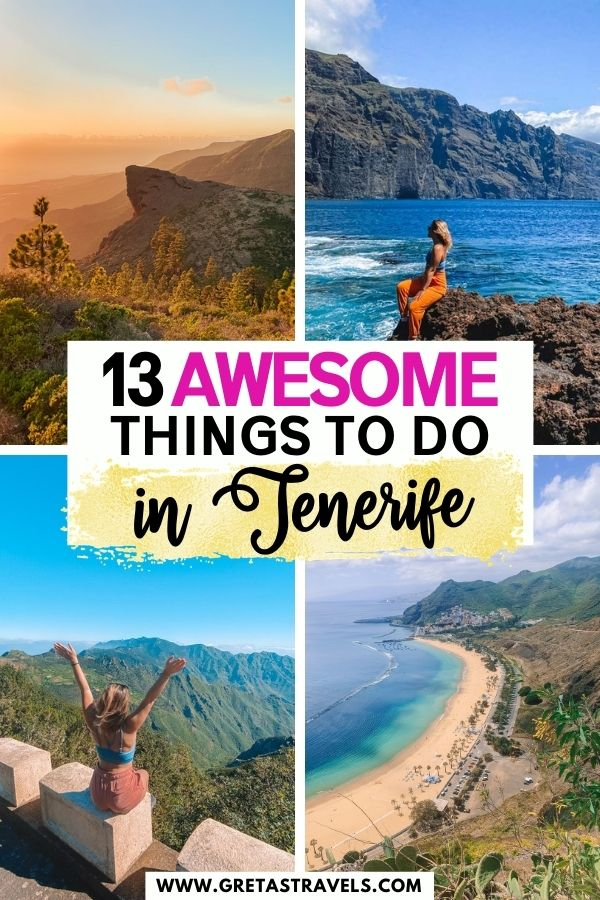 """Photo collage of the cliffs of Los Gigantes, Anaga Rural Park, Playa de las Teresitas from above and the sunset over Costa Adeje with text overlay saying """"13 awesome things to do in Tenerife"""""""