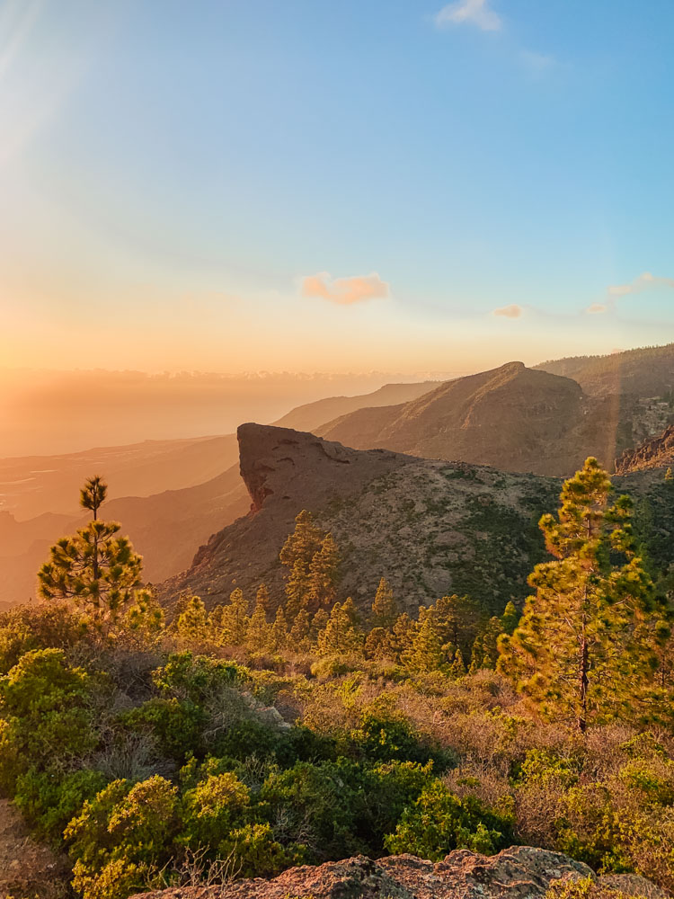 A beautiful sunset over the hills and southern coast of Tenerife