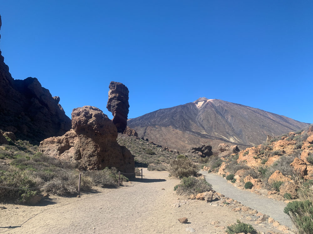 The start of the Roque de Garcia trail, with the Teide peak in the back, Tenerife