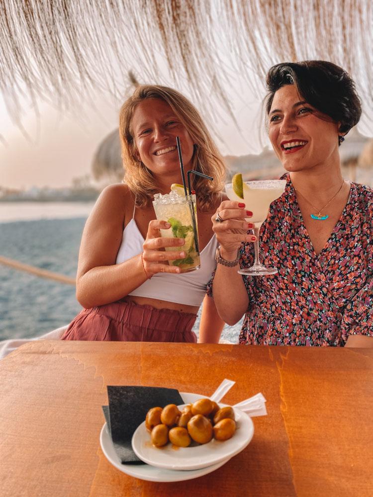Enjoying some sunset drinks with my friend Ari at Coqueluche Beach Bar in Tenerife