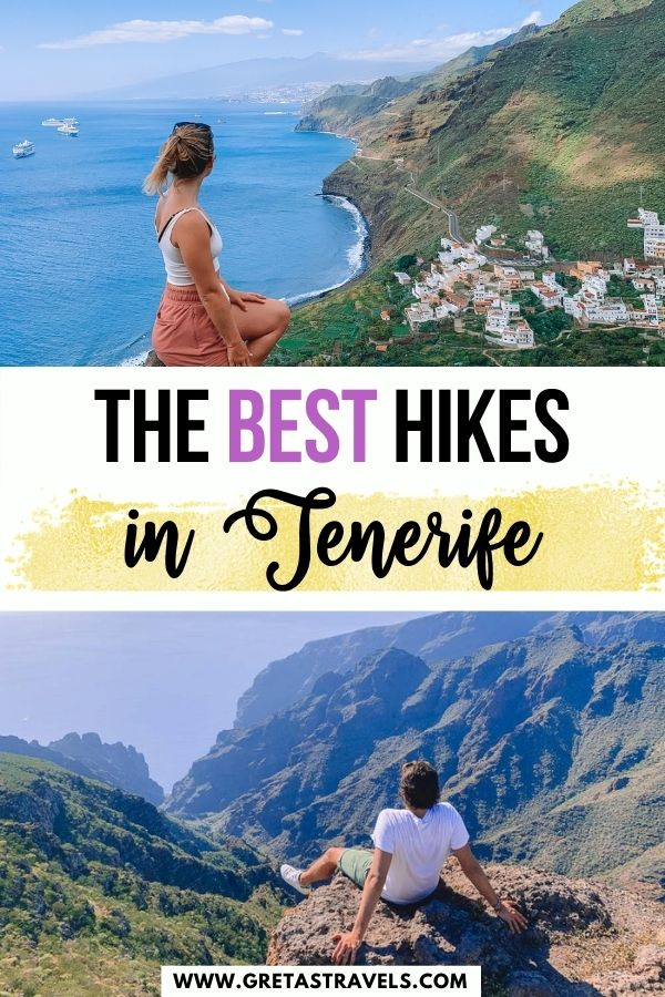 """Photo collage of a blonde girl watching the view over Igueste and a boy overlooking the Teno mountains with text overlay saying """"The best hikes in Tenerife"""""""