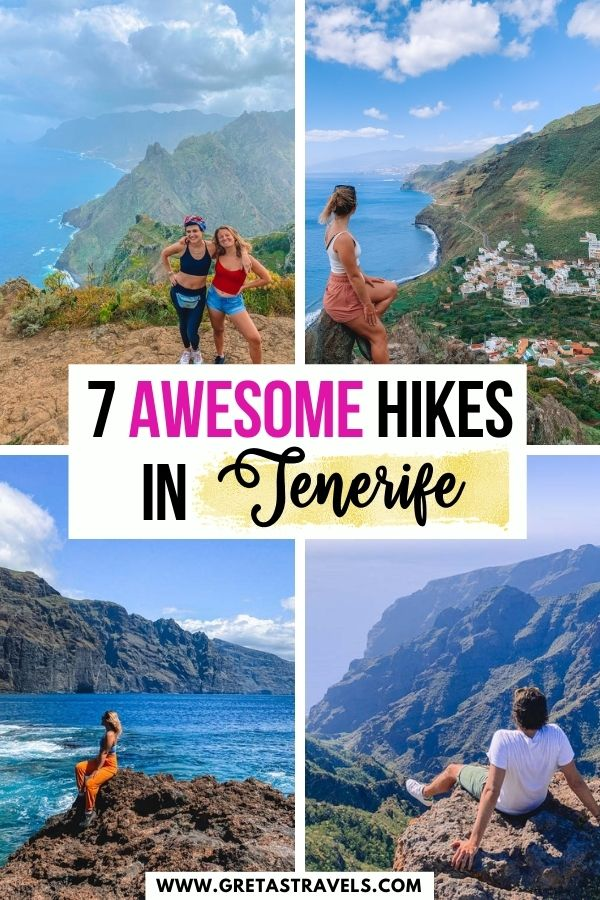 """Photo collage of a blonde girl standing at different viewpoints; at the Teno mountains, Anaga and Los Gigantes with text overlay saying """"7 awesome hikes in Tenerife"""""""