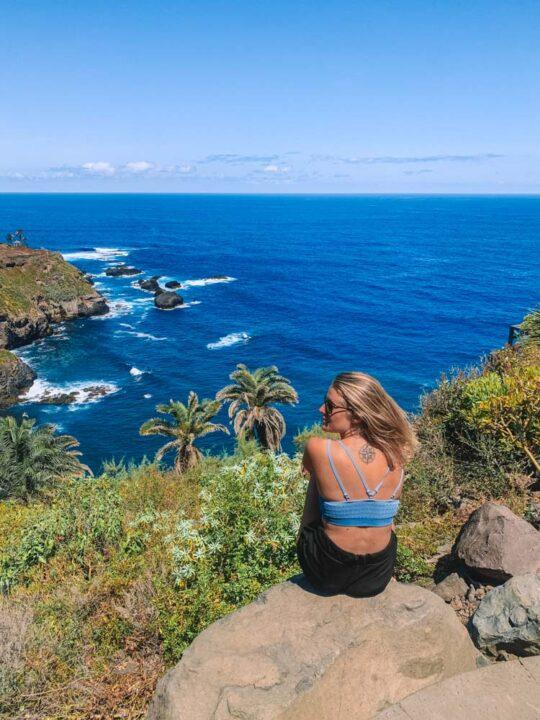 Enjoying the coastal views during the Rambla de Castro hike
