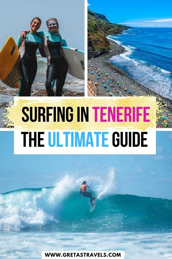 """Photo collage of a guy surfing in Tenerife, Playa del Socorro and two girls holding surf boards with text overlay saying """"Surfing in Tenerife - the ultimate guide"""""""