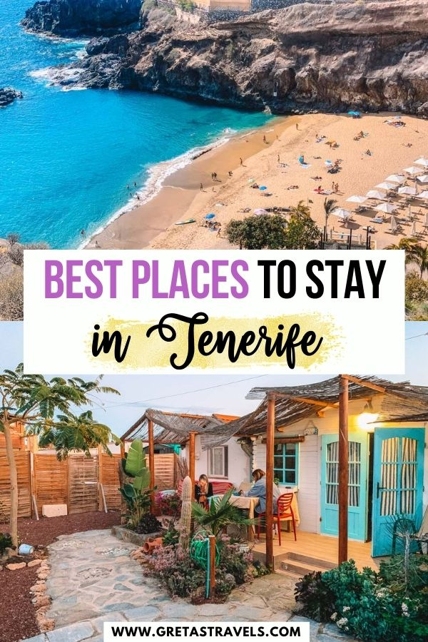 """Photo collage of Playa Abama and a cute AirBnb in Las Galletas with text overlay saying """"Best places to stay in Tenerife"""""""