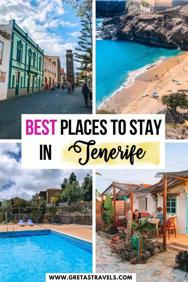 """Photo collage of the historical city centre of La Laguna, Playa Abama, the pool of Hotel Rural Arona and an AirBnb in Las Galletas with text overlay saying """"Where to stay in Tenerife"""""""