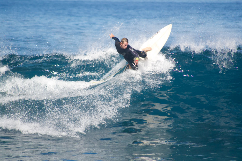 Marco Grande, one of the instructors at Surf Life Tenerife, surfing in Playa del Socorro