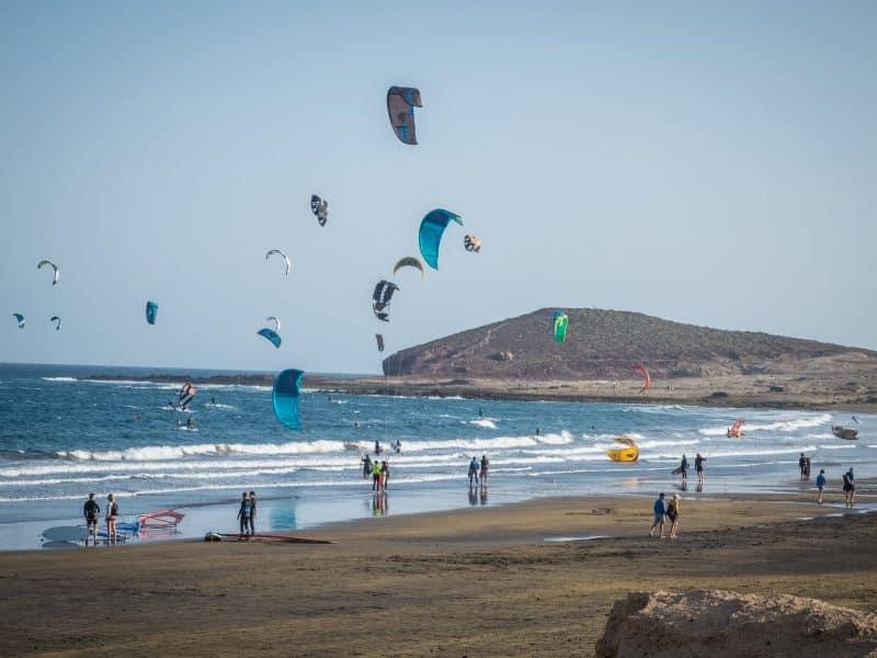 The popular kitesurfing beach in El Medano, Tenerife - Photo by Valentina Borghi of BeBorghi