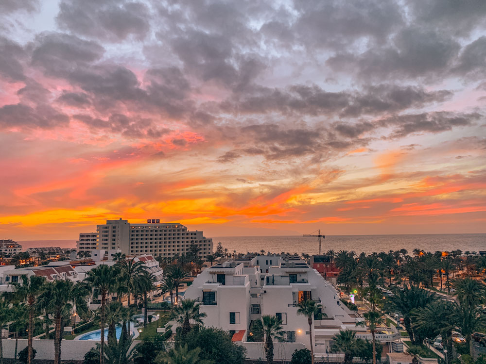 The sunset view from my apartment at El Dorado Residence in Las Americas, Tenerife