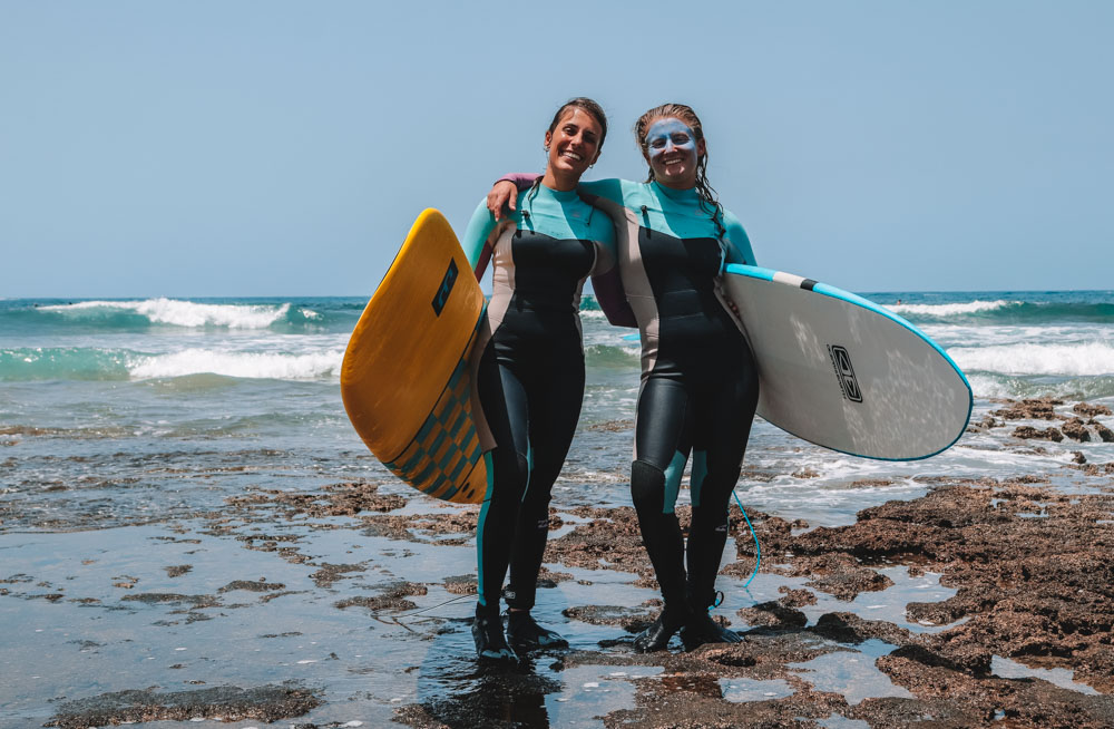 Surfing in Tenerife with my friend Martina