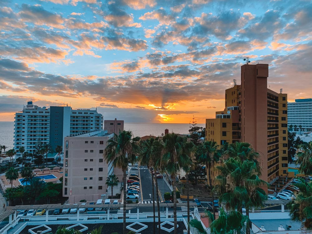 The sunset view from my apartment at Apart Ponderosa Hotel in Adeje, Tenerife