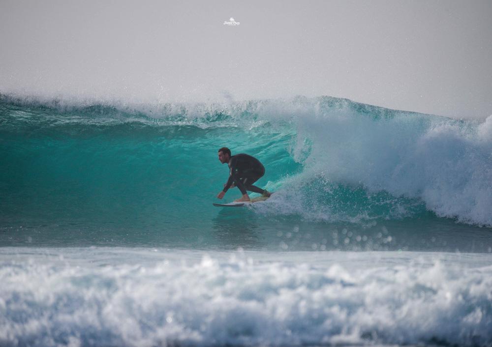 Marco Grande, one of the instructors at Surf Life Tenerife, surfing at La Derecha del Cartel