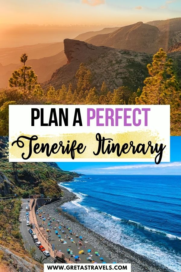 """Photo collage of Playa del Socorro and the mountains over Arona with text overlay saying """"Plan a perfect Tenerife itinerary"""""""
