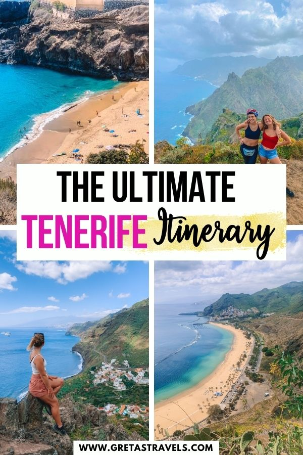 """Photo collage of Playa de las Teresitas, Playa Arona, Anaga National Park and Roque de Taborno with text overlay saying """"The ultimate Tenerife itinerary"""""""