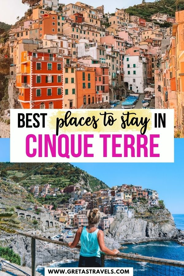 """Photo collage of a blonde girl overlooking Manarola and the sunset over Riomaggiore with text overlay saying """"Best places to stay in Cinque Terre"""""""