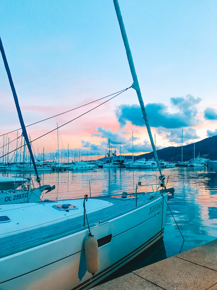 Sunset in the harbour of La Spezia, Italy - the best place to stay near Cinque Terre for a local feel