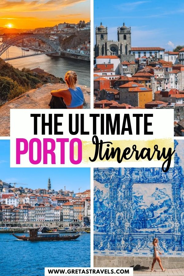 """Photo collage of the riverfront in Porto, the view over Porto from Miradouro da Vitoria, the azulejos facade of the Chapel of Souls and a sunset over Porto with text overlay saying """"The ultimate Porto itinerary"""""""