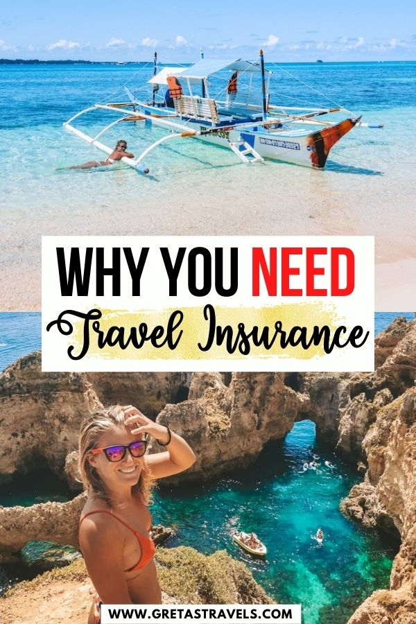 """Photo collage of a blonde girl in a beach in the Philippines and on top of a cliff in Portugal with text overlay saying """"Why you need travel insurance"""""""