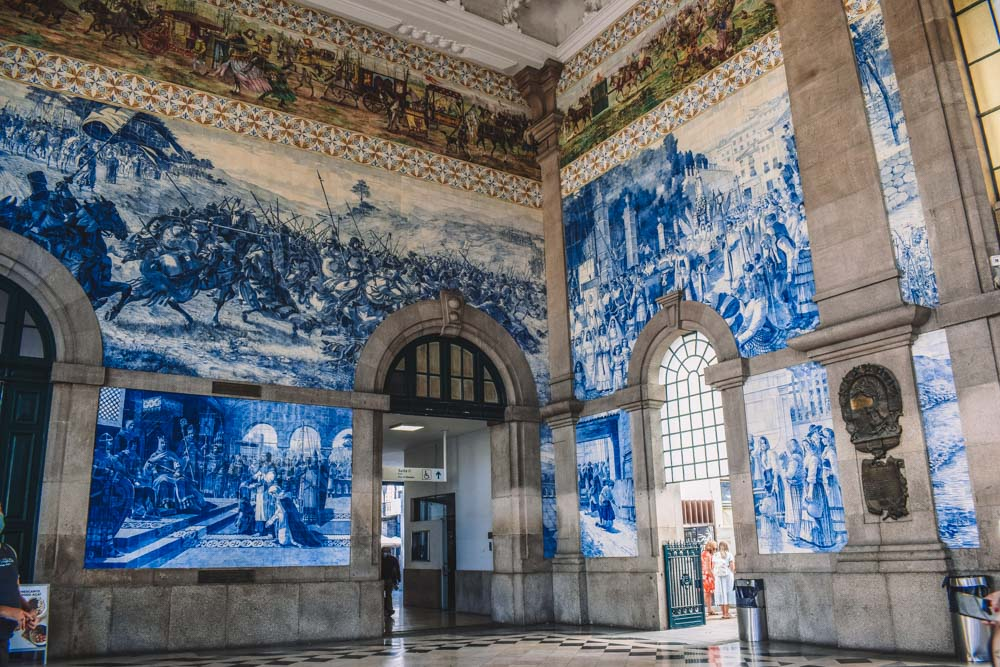 The interior of Sao Bento Station in Porto, Portugal