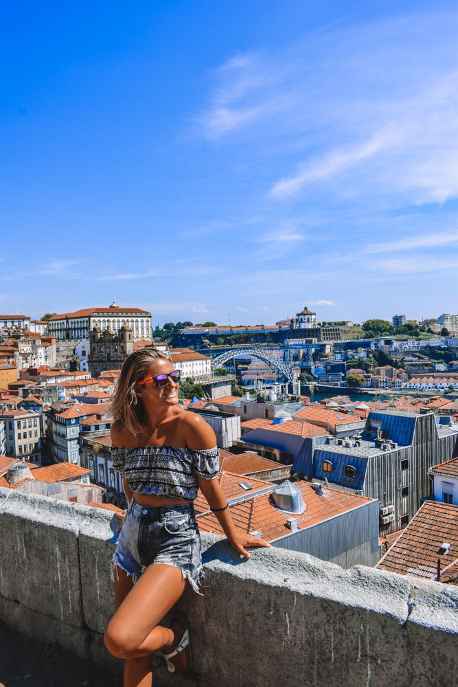 Enjoying the view from Miradouro da Vitoria in Porto, Portugal