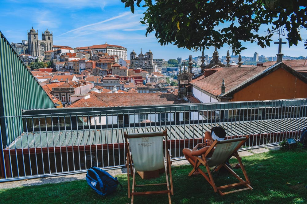 Enjoying the view over Porto from Rooftop Flores