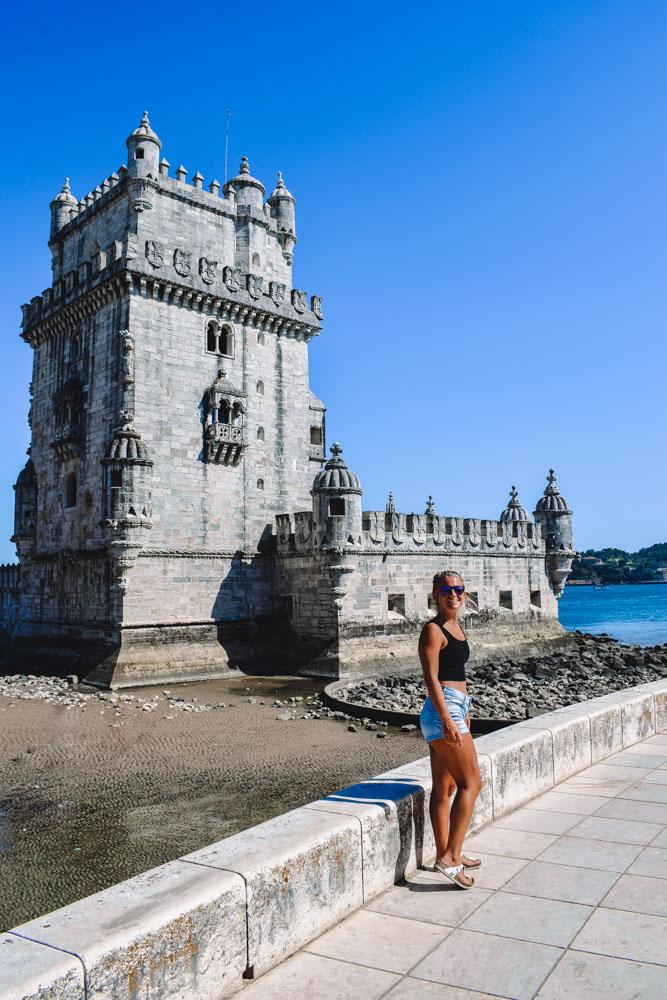 Admiring Belem Tower in Lisbon