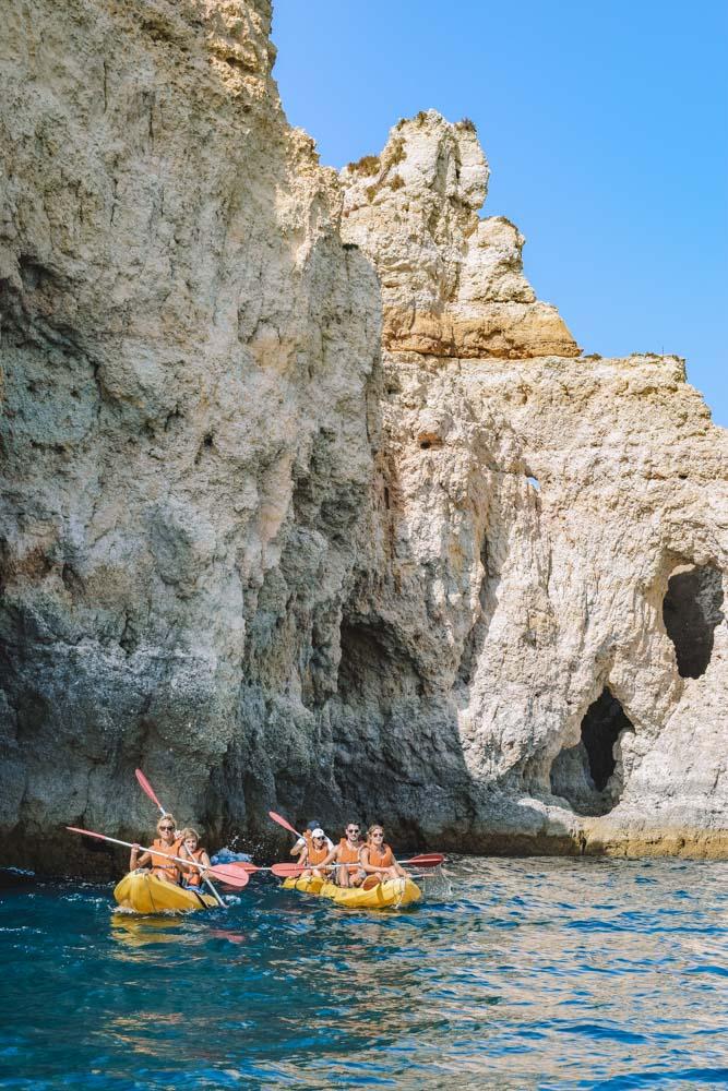A kayak tour in Ponta da Piedade in the Algarve, Portugal