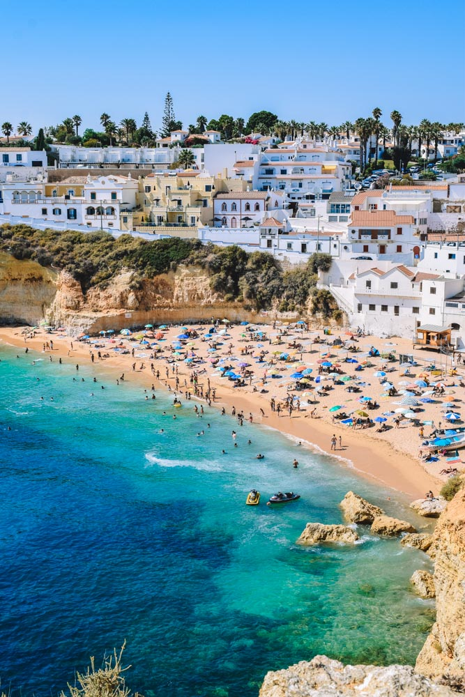 View over the beach and town of Carvoeiro in the Algarve, Portugal