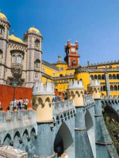 The distinctive architecture and colours of Pena National Palace in Sintra, Portugal
