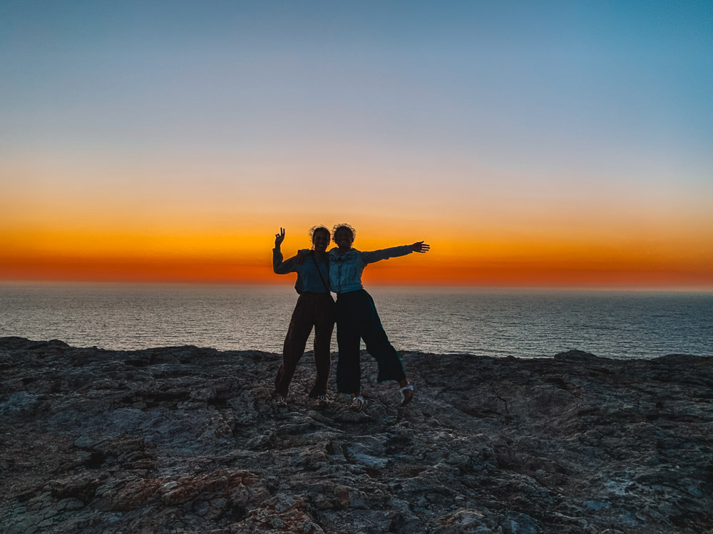 Enjoying the sunset at Cabo de Sao Vincente in Portugal