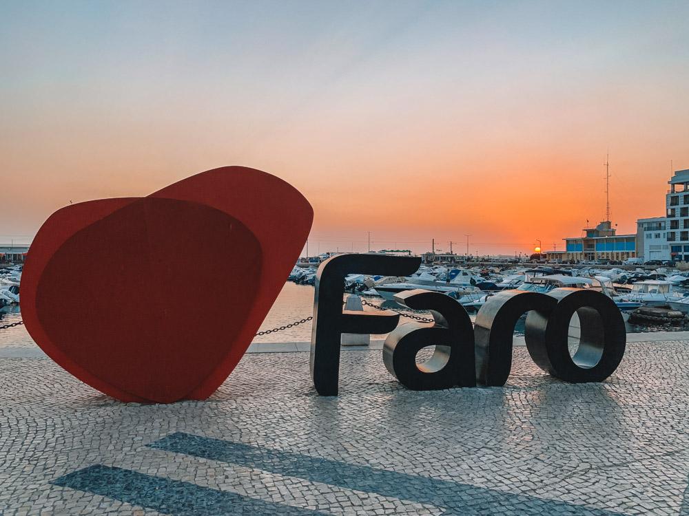 Sunset in Faro Marina, Portugal