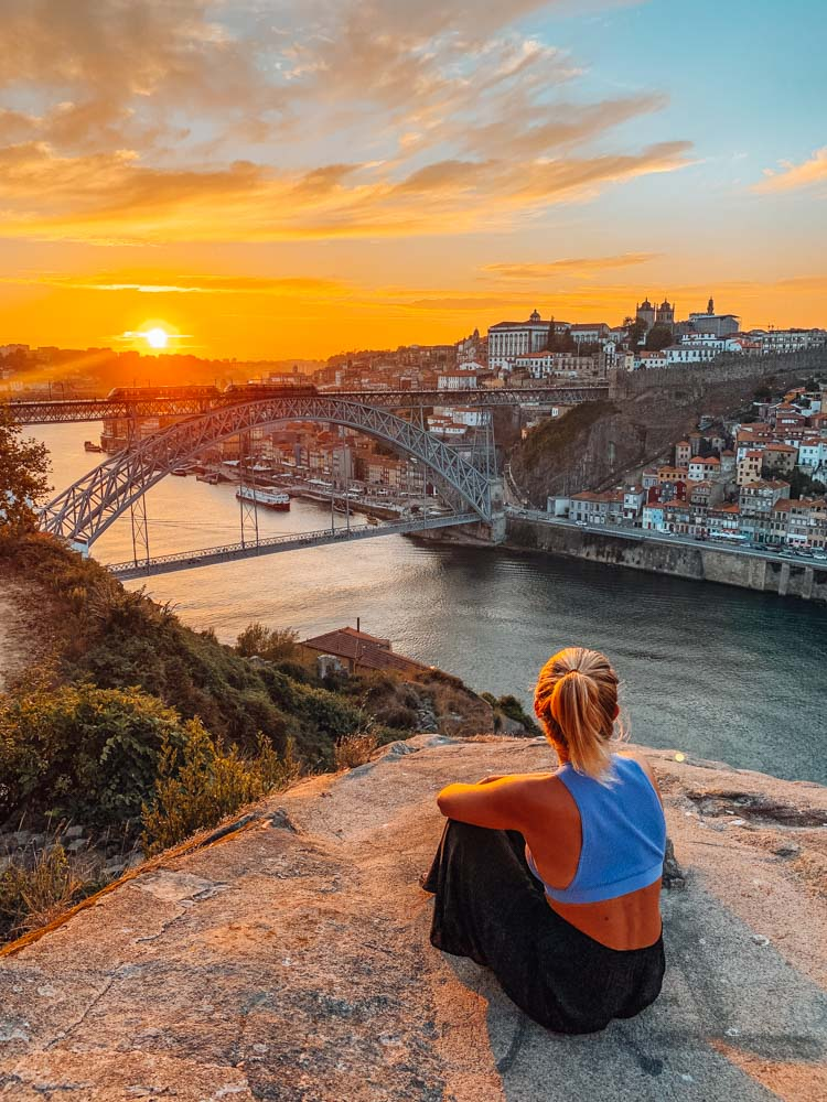 Enjoying the sunset over Porto and the Douro River