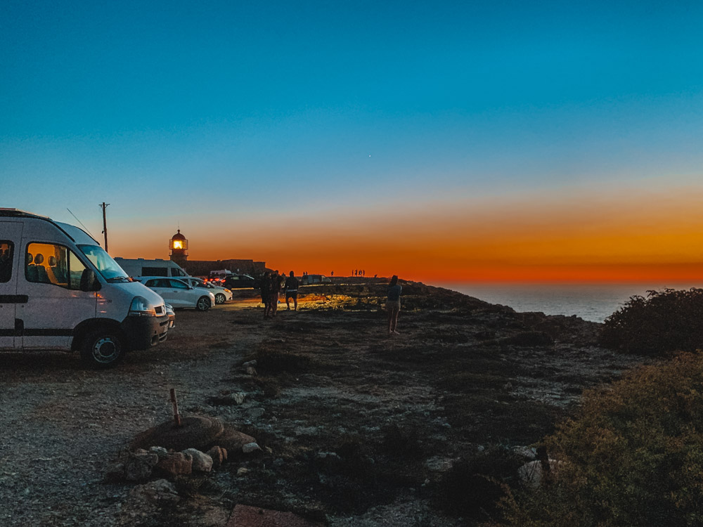 The sunset at Cabo de Sao Vincente in Portugal