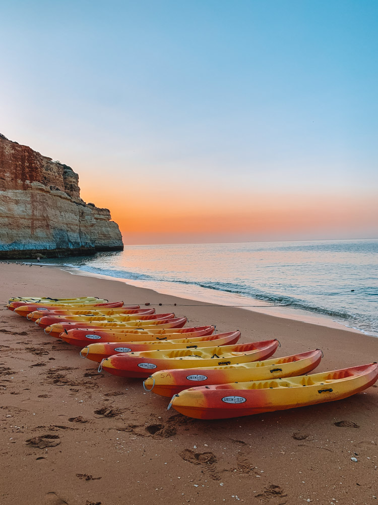 Kayaks ready for a sunrise tour to Benagil Cave