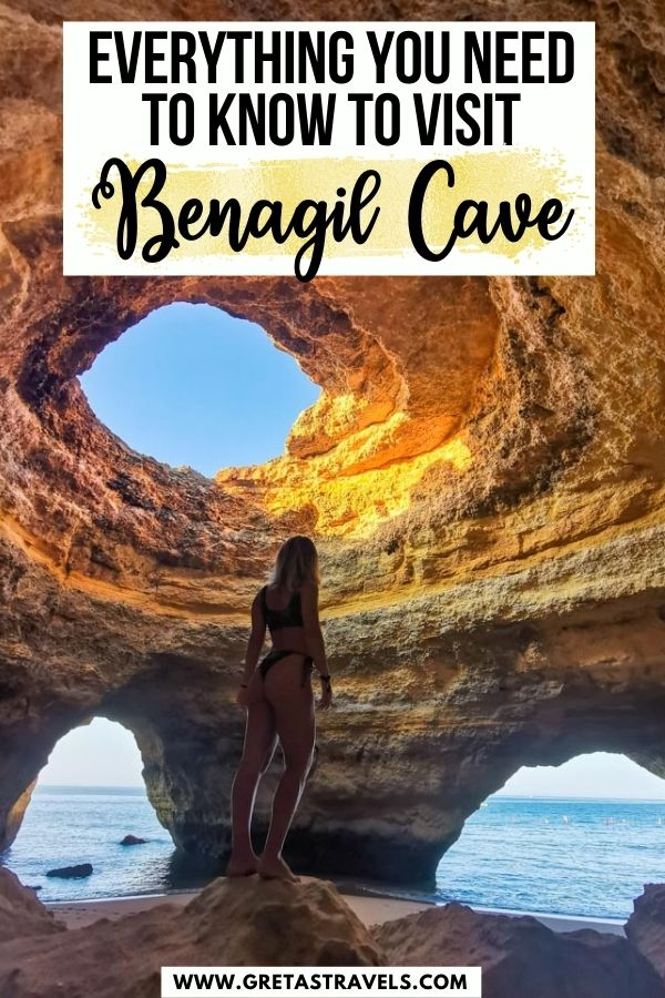 """Photo of a girl standing inside Benagil Cave in the Algarve, Portugal with text overlay saying """"Everything you need to know to visit Benagil Cave"""""""