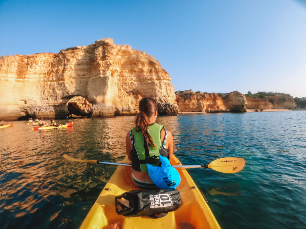 Kayaking to Praia da Marinha during our Benagil Cave kayak tour