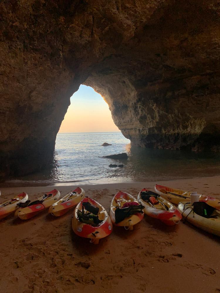 Our kayaks inside Benagil Cave