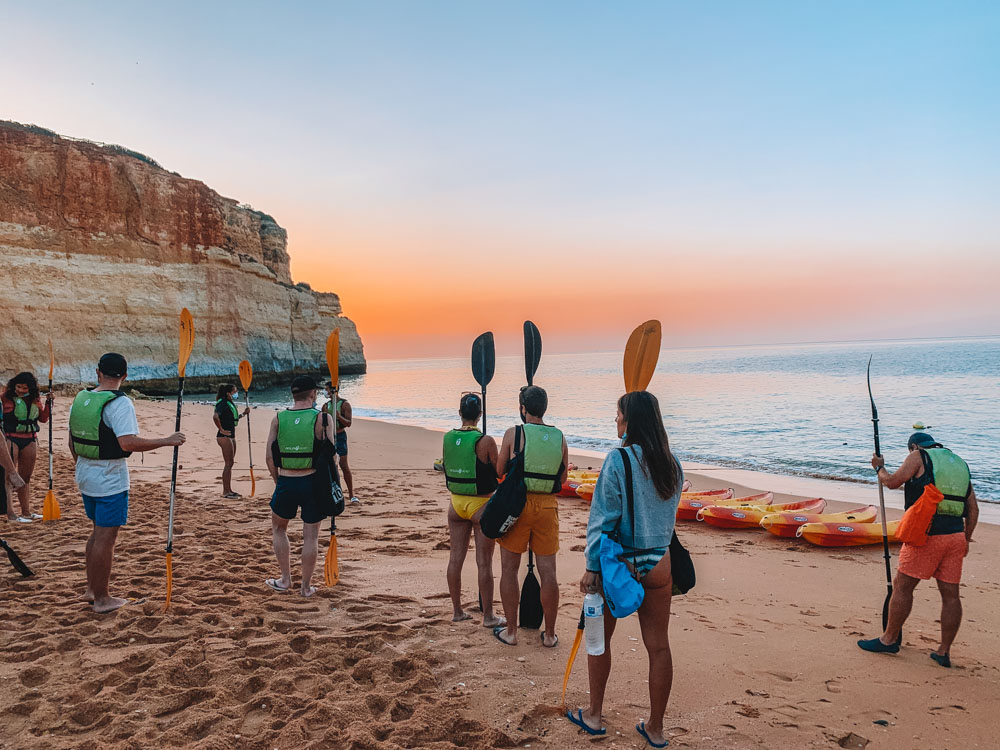 Getting ready for our kayak sunrise tour to Benagil Cave from Benagil Beach